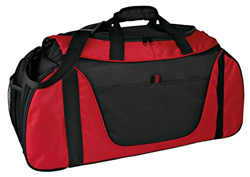 Port & Company luggage-and-bags Improved Two Tone Medium Duffel OSFA Red/Black