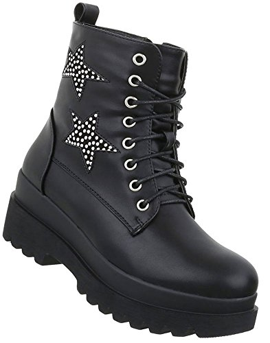 Damenschuhe Glitzer Stiefelette Leder Schuhcity24 Party Schwarz Boots Stiefel Outdoor Optik Ankle Stiefeletten Booties Stiefelette Reißverschluss Plateau Gothic vEwOPxrEq