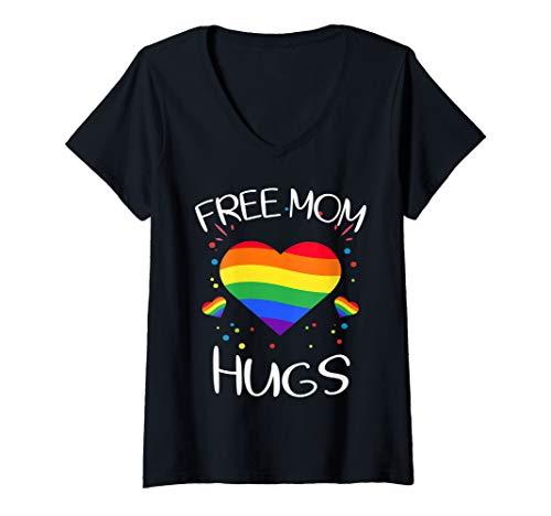 Womens free mom hugs tshirt rainbow heart LGBT pride month  V-Neck T-Shirt