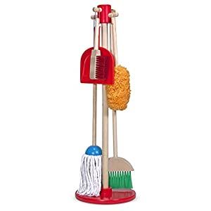 Melissa & Doug, Let's Play House! Dust! Sweep! Mop! Pretend Play Set, 6-piece, Kid-Sized with Housekeeping Broom, Mop, Duster and Organizing Stand for Skill- and Confidence-Building