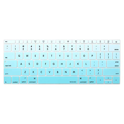 MOSISO Silicone Keyboard Cover Protective Skin Compatible MacBook Pro 13 Inch 2017 & 2016 Release A1708 Without Touch Bar, New MacBook 12 Inch A1534, Gradient Blue
