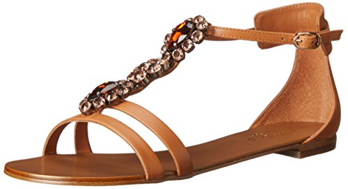 Lola Cruz Kvinners Jeweled Munk Stropp Flat Tan