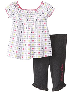Baby-Girls Newborn Printed Tunic with Charcoal Legging