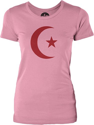 Big Texas Star and Crescent (Red) Womens Combed Cotton T-Shirt, Rose, S