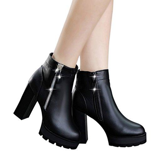 Enmayer Womens Plattform Rund Tå Zip Spänne Blockera Hög Klack Festklänning Boots Svart