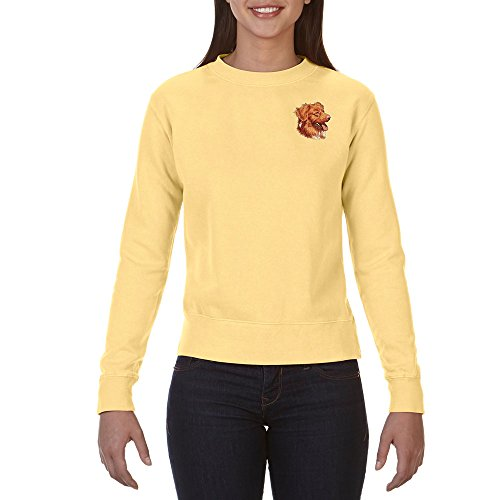 Cherrybrook Dog Breed Embroidered Ladies Crew Sweatshirts - X-Large - Butter - Nova Scotia Duck Tolling (Retriever Embroidered Sweatshirt)