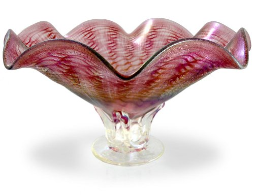 American Hand-Blown Fluted Art Glass Pedestal Bowl in Pink Blush