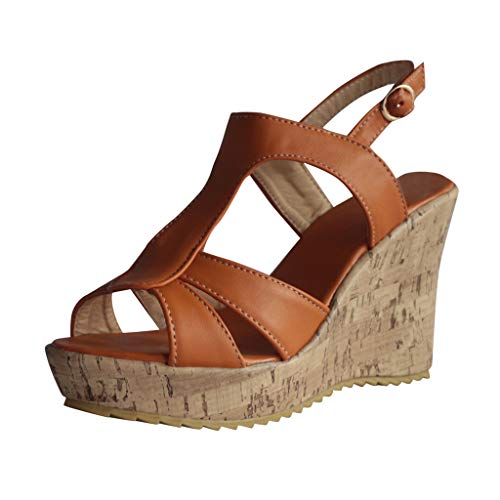 Ladies Sandals Fzitimx Summer Womens Sandals Retro Womens Wedges Flats Strap Buckle Shoes Open Toe Thick Bottom Roman Sandals Peep Toe Wedge Sandals