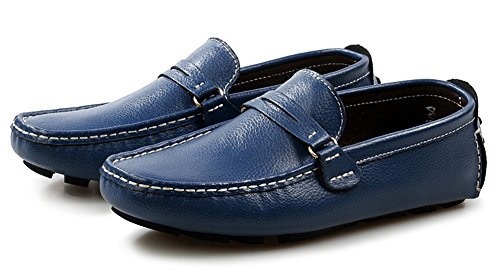 Toe Round Aisun Slip Gommino Mens Trendy ons Flats Comfortable Moccasin Penny Driving Shoes Blue Loafers Boat aRRICw