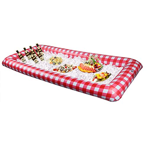 iMounTEK Inflatable Ice Buffet Bar for Outdoor Picnics/Parties/Get Togethers (Portable Serving Bar, Blow Up, Lightweight, Pump Included, Classic Picnic Table Look, 52.5x22.5x5) - Red Checkered