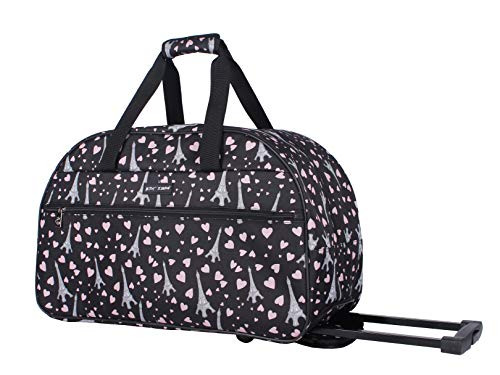Betsey Johnson Luggage Designer Pattern Suitcase Wheeled Duffel Carry On Bag (Paris Love) (One Size, Paris Love)