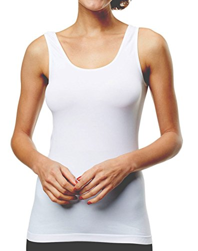 - Women's Stretch Tank Basic Layering Top Seamless Camisole Wide Strap White S