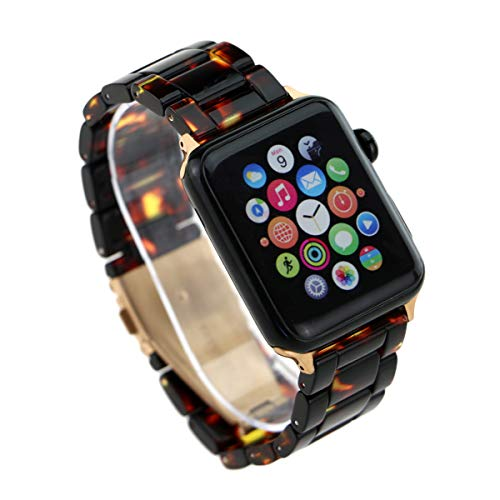 (ARTCHE Compatible with Apple Watch Lightweight Resin Band Replacement Strap Wristband for iWatch Series 3/2/1, Nike+, Sport & Edition, with Durable Folding Clasp (Tortoise, 42mm))