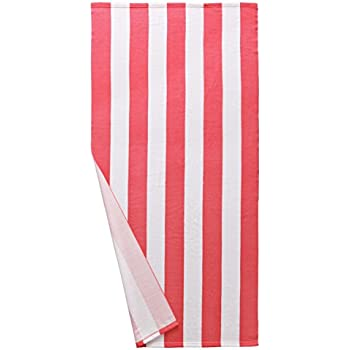 """Microfiber Cabana Striped Beach Towel Pink and White (30"""" x 60"""")-Soft, Quick Dry, Lightweight, Absorbent, and Plush by Exclusivo Mezcla"""
