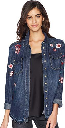 Juicy Couture Women's Denim Hands Off Floral Embellished Shirt Fairmont Wash Medium