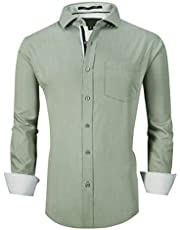 Esabel.C Mens Dress Shirts Bamboo Fiber Long Sleeve Regular Fit Stretch Wrinkle Free Casual Shirts