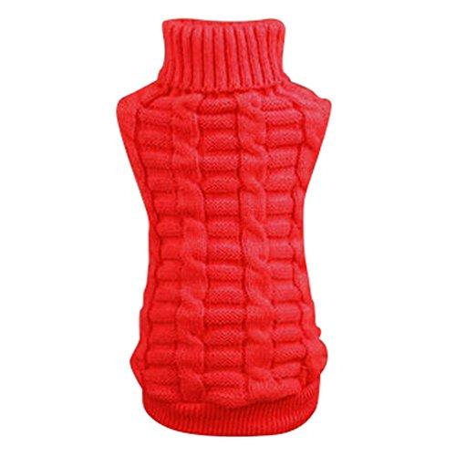 PanDaDa Puppy Small Pet Dog Cat Sweater Clothes Winter Coat Apparels Red M