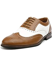 Arthur MFA139001D Mens Wingtip Two Tone Oxford Black and White Spectator Dress Shoes