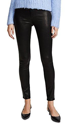 Black Lambskin Leather Pants - Rag & Bone/JEAN Women's High Rise Skinny Leather Pants, Black Leather, 26