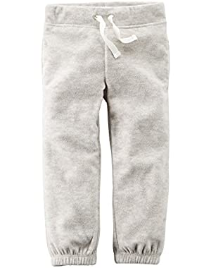 Girl's Heather Fleece Pull On Pants (3 Months)