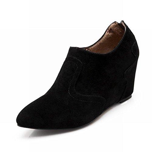 Carolbar Femmes Fermeture À Glissière Bout Pointu Occasionnels Coin Caché Talon Chaussures Noir