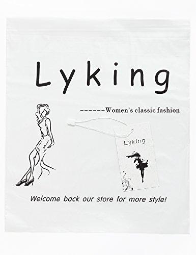 Lyking Women's Henley V Neck Sleeveless Curved Hem Chiffon Blouse Shirts Tank Tops (L, Coffee) by Lyking (Image #3)
