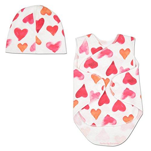 Itty Bitty Baby NICU Wrap Set - NICU Friendly (Red Hearts, Preterm 2 (1-3lbs))