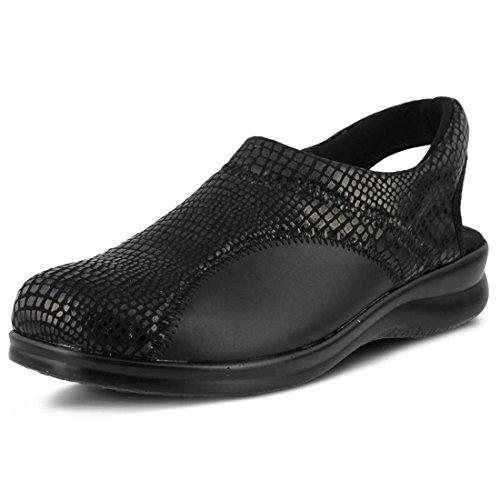 Flexus By Spring Step Womens Flexia Flat Black Python