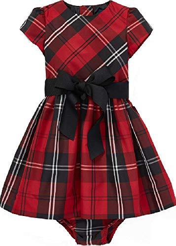 Ralph Lauren Girrls Tartan Plaid Dress & Bloomer, Red Tartan, Size 18 Months