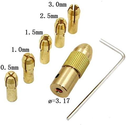 工具 7PCS /セット 黄銅 0.5〜3mm 小さい 電気ドリルビットコレットマイクロ ツイスト3.17mmドリルチャックセット レンチ付き DIY 作業工具