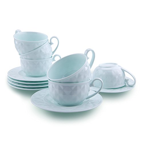 T4U 5 Ounce Light Green Damond Bone China Coffee Cups and Saucers with Handle for Coffee Latt Mocha Cappuccino Espresso Tea Cups and Saucer Light Green sets of 6 (Cappuccino Green Cup)