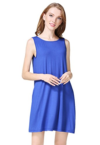 Loose Buenos Fit Dress Royal with Solid Blue Casual Pockets Ninos Women's Color T Swing shirt rXwqrSI