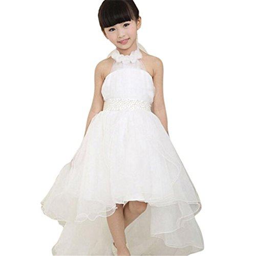 Price comparison product image Girl Dress, Haoricu Girls' White Princess Beauty Pageant Wedding Party Dresses (Size:100,  White)