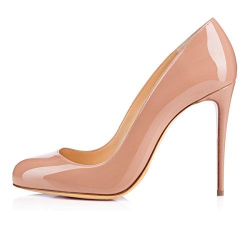 Tacco con Round Heels Beige Toe High Spillo 10cm Donna Tacco Scarpe Soireelady a WqpfS5C81f