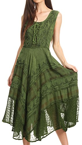 Sakkas 15322 - Azalea Stonewashed Rayon Embroidery Corset Style Dress - Green - -