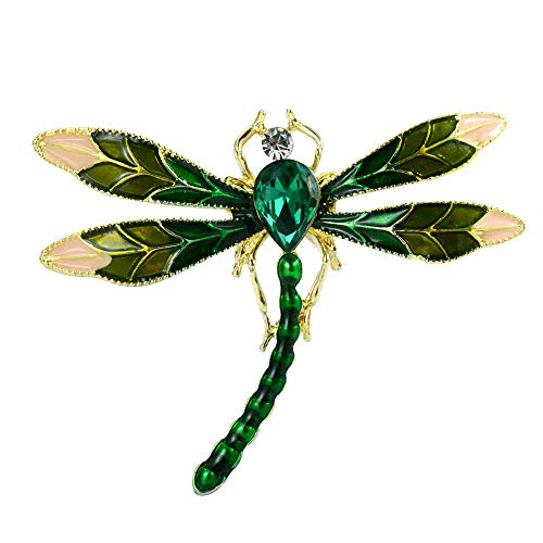 Mamfous Austrain Crystal Enamel Dragonfly Brooch Pins for Women Insect Pendant Rhinestone Jewelry (Green)