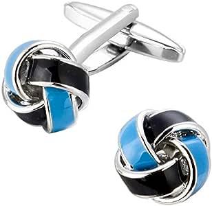 Knot Cufflinks for Men Shirt Twist Cufflinks Blue And Black XK01