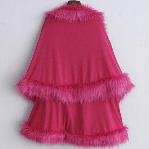 FEITONG De las mujeres Piel sintética Collar capa Estola Envolver Encapuchado Suéter Capa Rosa