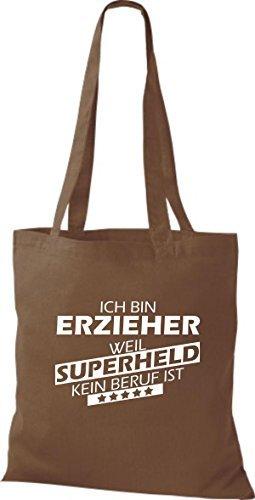 Shirtstown Bolso de tela Estoy Educadores, weil Superheld sin Trabajo ist marrón medio