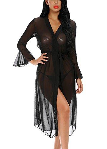 Monrolove Women's Sexy Long Robe Lingerie Set Long Sleeve Flare Sleeve Sheer Nightgown Black XXL