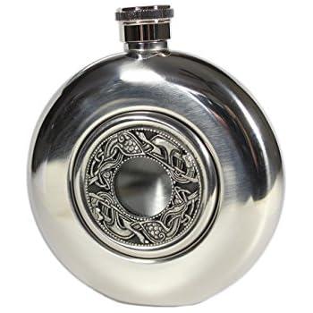 Whiskey Flask Celtic Design Pewter & Glass Center Irish Made
