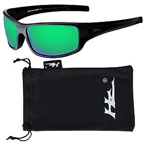 HZ Series Arkana - Premium Polarized Sunglasses by Hornz (Matte Black, Emerald Green Mirror)