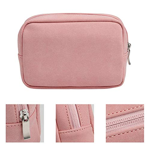 Hello Color Mouse Charger USB Cable Bag Digital Storage Bag for MacBook iPad Laptop Frosted Ultralight Faux Suede Leather Bag Pouch Adapt Mouse Case & Power Bag Anti-Scratch Waterproof (Pink)