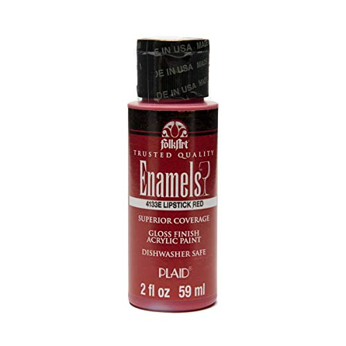 - FolkArt Enamel Glass & Ceramic Paint in Assorted Colors (2 oz), 4133, Lipstick Red