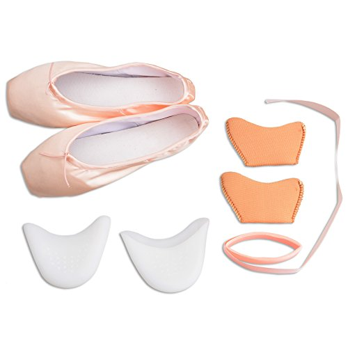 Girls Pointe Shoes Pink Ballet Shoe Leather Sole with Free Gel Silicone Toe Pads and Ribbons – DiZiSports Store