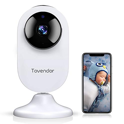 Tovendor Mini Smart Home Camera, 1080P 2.4G WiFi Security Camera Wide Angle Nanny Baby Pet Monitor with Two Way Audio, Cloud Storage, Night Vision, Motion Detection
