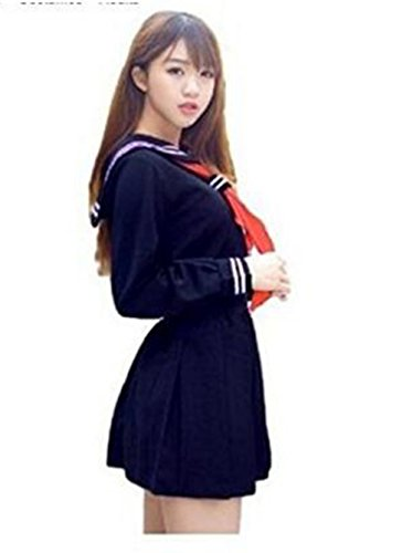 Evalent Japanese Sailor Suit Cosplay Costume Set Navy【Jacket+Skirt+Ribbon Tie+Socks】Orthodox School Girl Uniform (M) - Womens Navy Uniform