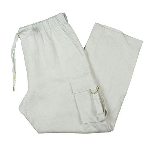 MICHAEL Michael Kors Womens Linen Solid Cargo Pants White M