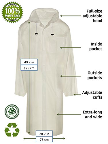 Blanco Cordón Impermeable Chaqueta Creations Lluvia con y Poncho de BlinQ Portátil Men's Bolsillo Lluvia Capucha f6qpPwHwx