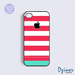 iPhone 6 Tough Case - 4.7 inch model - Pink Blue Stripes Design iPhone Cover